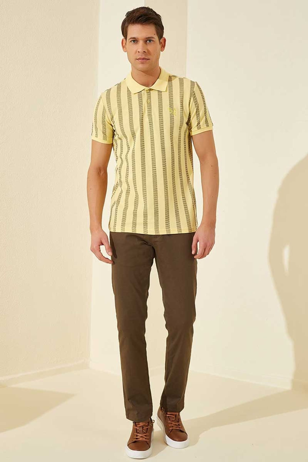 Tommy Life Desenli Polo Yaka Sarı Erkek Tshirt T08ER-87805_1 1