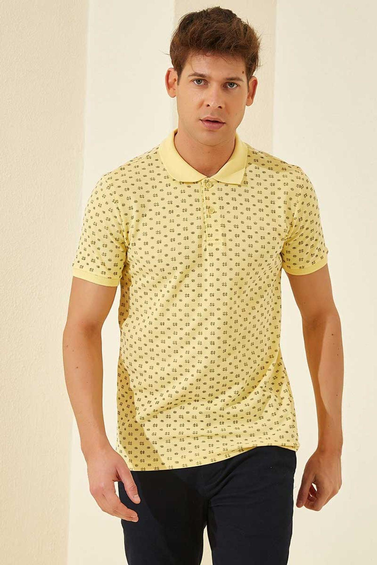 Tommy Life Klasik Desenli Polo Yaka Sarı Erkek Tshirt T08ER-87795_1 1