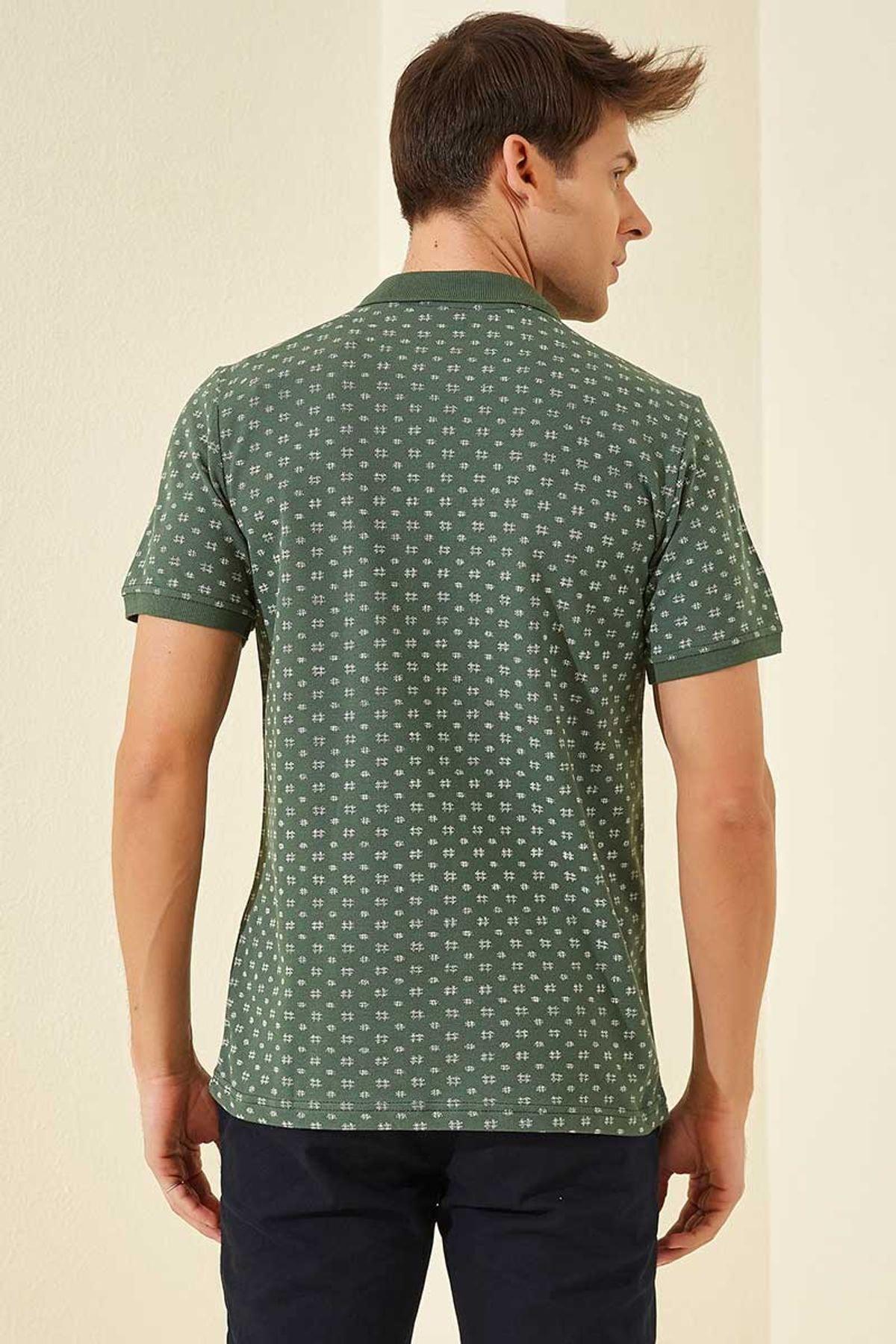 Tommy Life Klasik Desenli Polo Yaka Yeşil Erkek Tshirt T08ER-87795_1 2