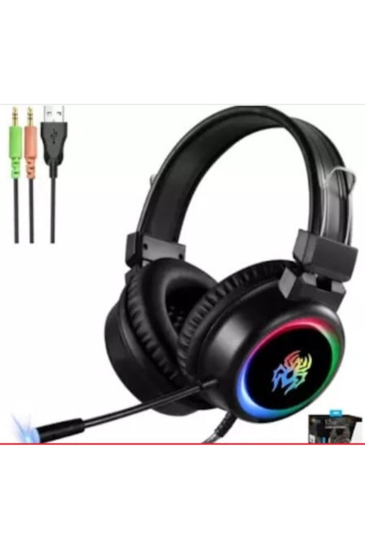 Yoro V5 Profesyonel Işıklı Oyuncu Kulaklığı USB Ve 3.5 Mm Jack Kulaklık 1
