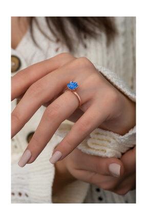 Papatya Silver Mavi Renk Lotus Çiçeği Yüzük Rose Gold Kaplama 925 Ayar Gümüş