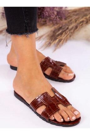 ayakkabıhavuzu Terlik - Taba Kroko - Ayakkabı Havuzu