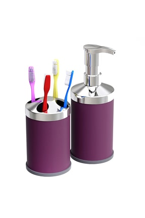 Alper Banyo Mor Tezgah Üstü 250 Cc Sıvı Sabunluk - Diş Fırçalık Seti ( Metal )