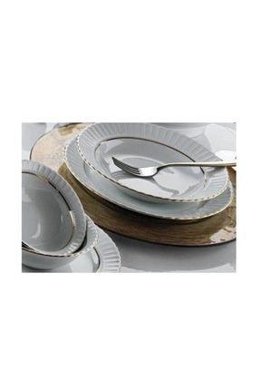 Kütahya Porselen Tabak Sedef Yaldızlı 25 cm servis Tabağı 6 Lı