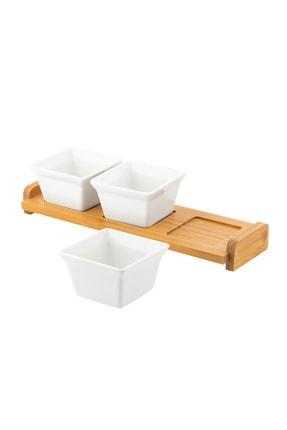 Doreline Perla Bambu Porselen Çerez Reçel Kahvaltılık 3'lü Sunum Tabağı