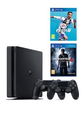 Sony Playstation 4 Slim 1 TB + 2. PS4 Kol + PS4 Fifa 19 + PS4 Uncharted 4