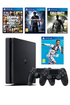 Sony Playstation 4 Slim 500 GB + 2. PS4 Kol + Fifa 19 + COD Infinite Warfare + Uncharted 4 + GTA 5