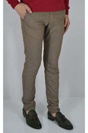 ALBATROSS Erkek Kahverengi Kuşgözü Desenli Keten Pantolon