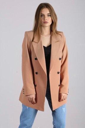 Madmext Mad Girls Camel Kruvaze Blazer Ceket Mg1085