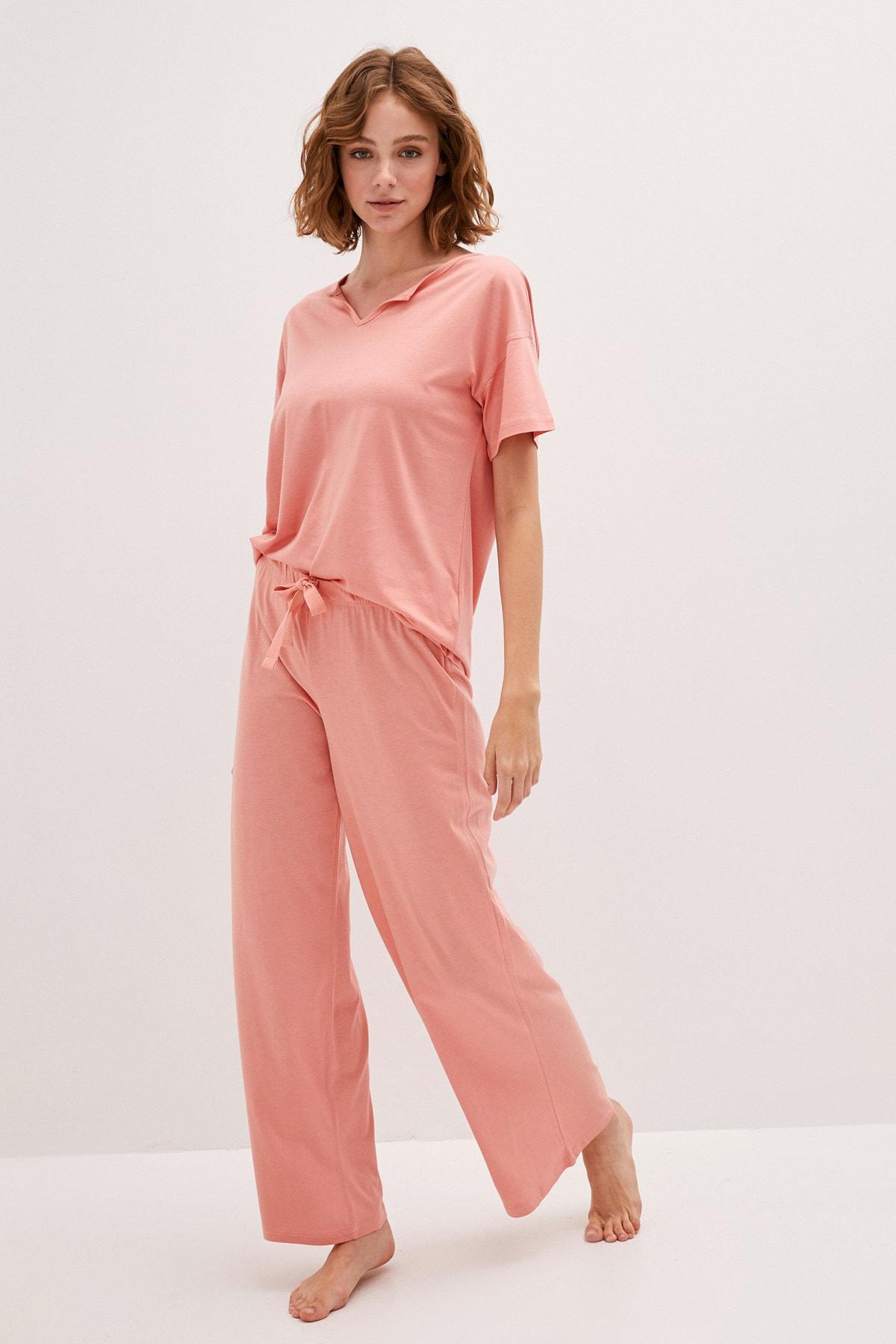 LC Waikiki Kadın Açık Mercan LCW DREAM Pijama Takım 1