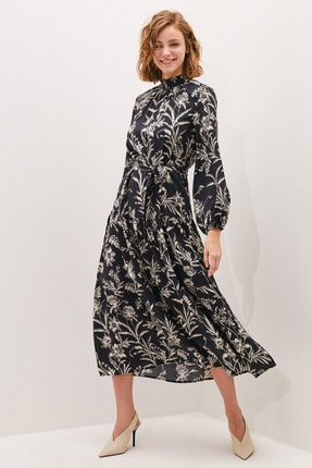 LC Waikiki Kadın Siyah Baskılı LCW Modest Elbise
