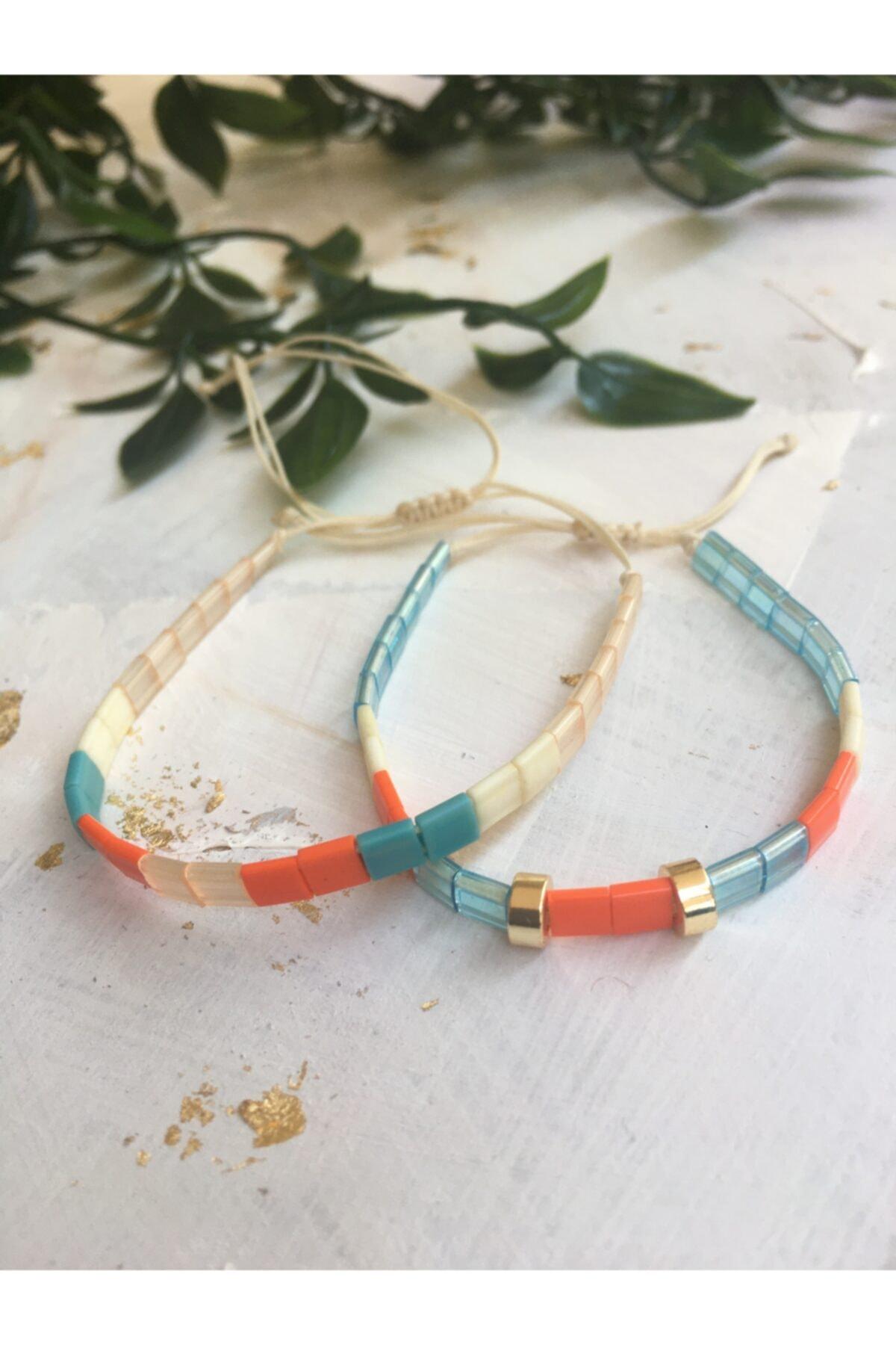 floom jewelry Turuncu Mavi Tila Bileklik Kombin 1