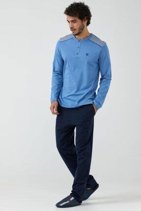 Sementa Yarım Düğmeli Erkek Pijama Takımı - Mavi - Lacivert