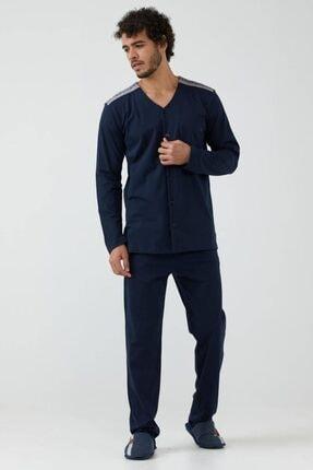 Sementa Erkek Omuz Detaylı Pijama Takımı - Lacivert