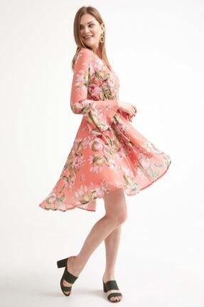 Sementa Kadın Kruvaze Çiçek Desenli Elbise - Somon