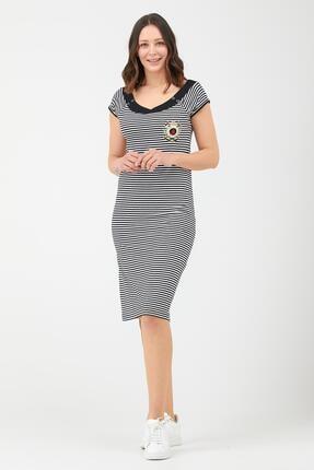 Sementa Kadın Geniş Yaka Marine Elbise - Siyah