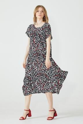 Sementa Desenli Torba Kesim Kadın Elbise - Siyah