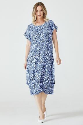 Sementa Desenli Torba Kesim Kadın Elbise - Mavi