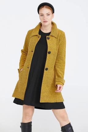 Sementa Kadın Polo Yaka Triko Ceket - Sarı