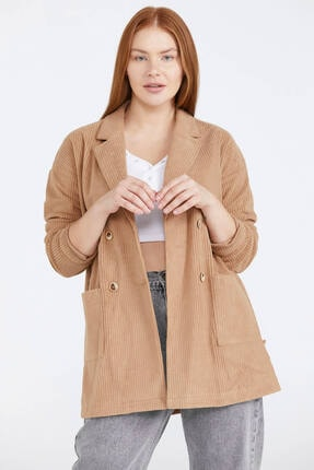 Sementa Kuşaklı Kadife Kadın Ceket - Kamel