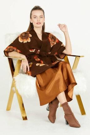 Sementa Kadın Kahverengi Çiçek Desenli Uzun Triko Ceket
