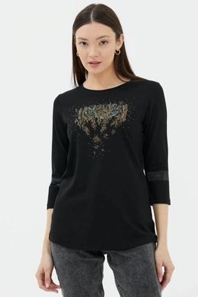 Sementa Kadın Siyah Taş Detaylı Bluz