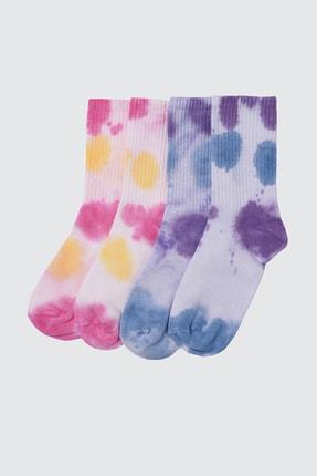 TRENDYOLMİLLA Çok Renkli 2'li Paket Örme Çorap TWOSS21CO0012