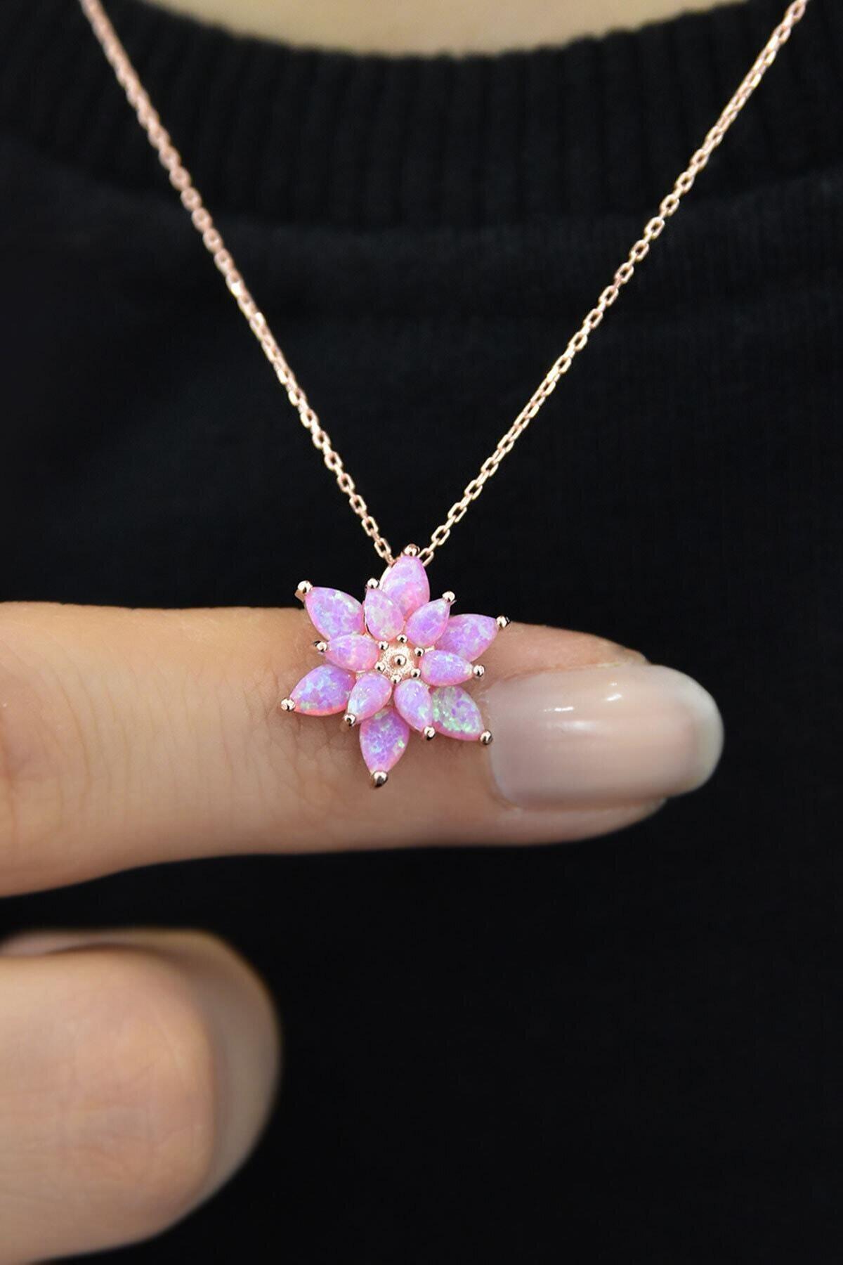 Papatya Silver 925 Ayar Gümüş Pembe Doğal Opal Taşlı Lotus Kolye 2