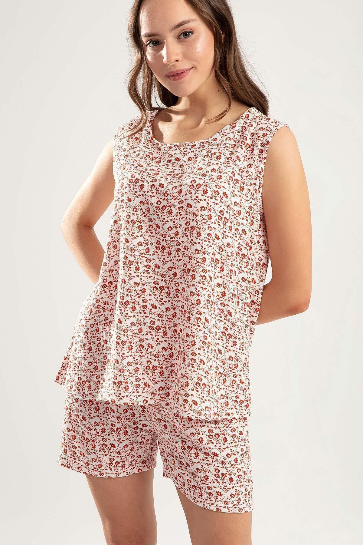 Pattaya Kadın Çiçekli Şortlu Pijama Takımı Y20s110-6478-1 1