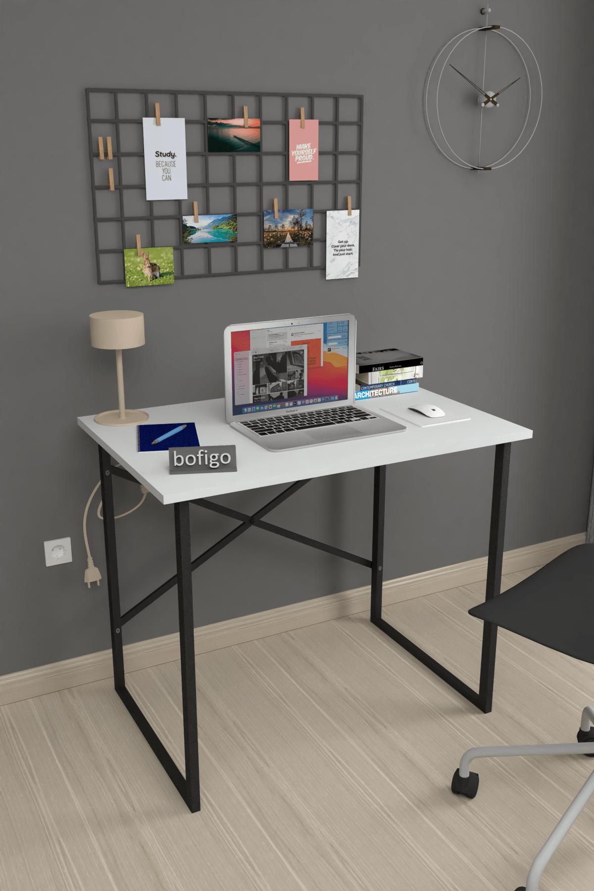 Bofigo 60x90 cm Çalışma Masası Laptop Bilgisayar Masası Ofis Ders Yemek Cocuk Masası Beyaz 1
