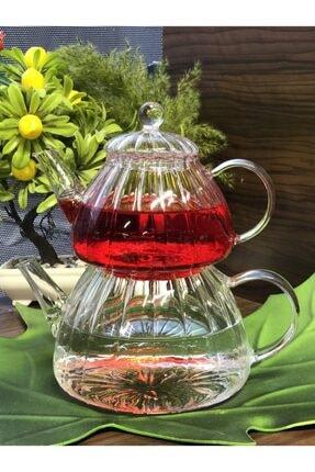 Tekbir Cam Çaydanlık 1200+600ml Isıya Dayanıklı Termisil