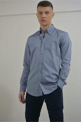 dörtelle Erkek Morcivert Slim Fit Oxford Kumaş Gömlek