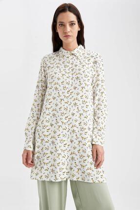 DeFacto Kadın Ekru Çiçek Desenli Dokuma Gömlek Tunik