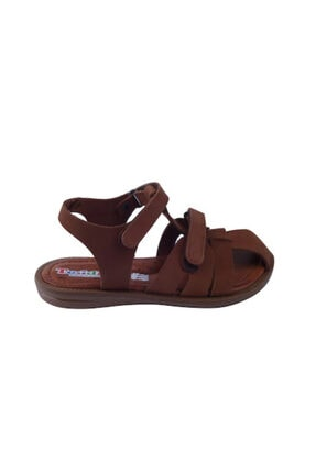 Toddler Unisex  Çocuk Tarçın Doğal Deri Ortopedik Taban Sandalet 26-30 01316
