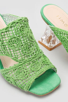 Limoya Kadın Yeşil Hasır İşlemeli Topuklu Terlik