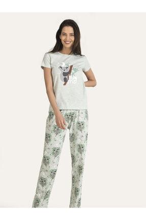 NBB Kadın Melanj Yeşil Koala Hug Me Pijama Takımı 67109