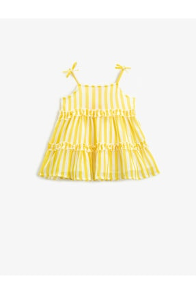 Koton Çizgili Elbise Firfirli