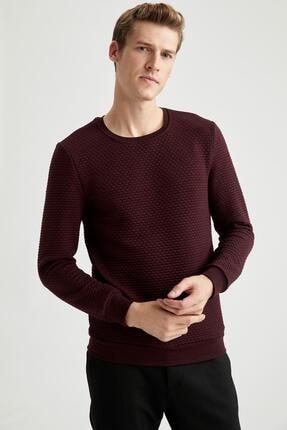 DeFacto Erkek Bordeaux Slim Fit Bisiklet Yaka Basic Sweatshirt R3381AZ20AU