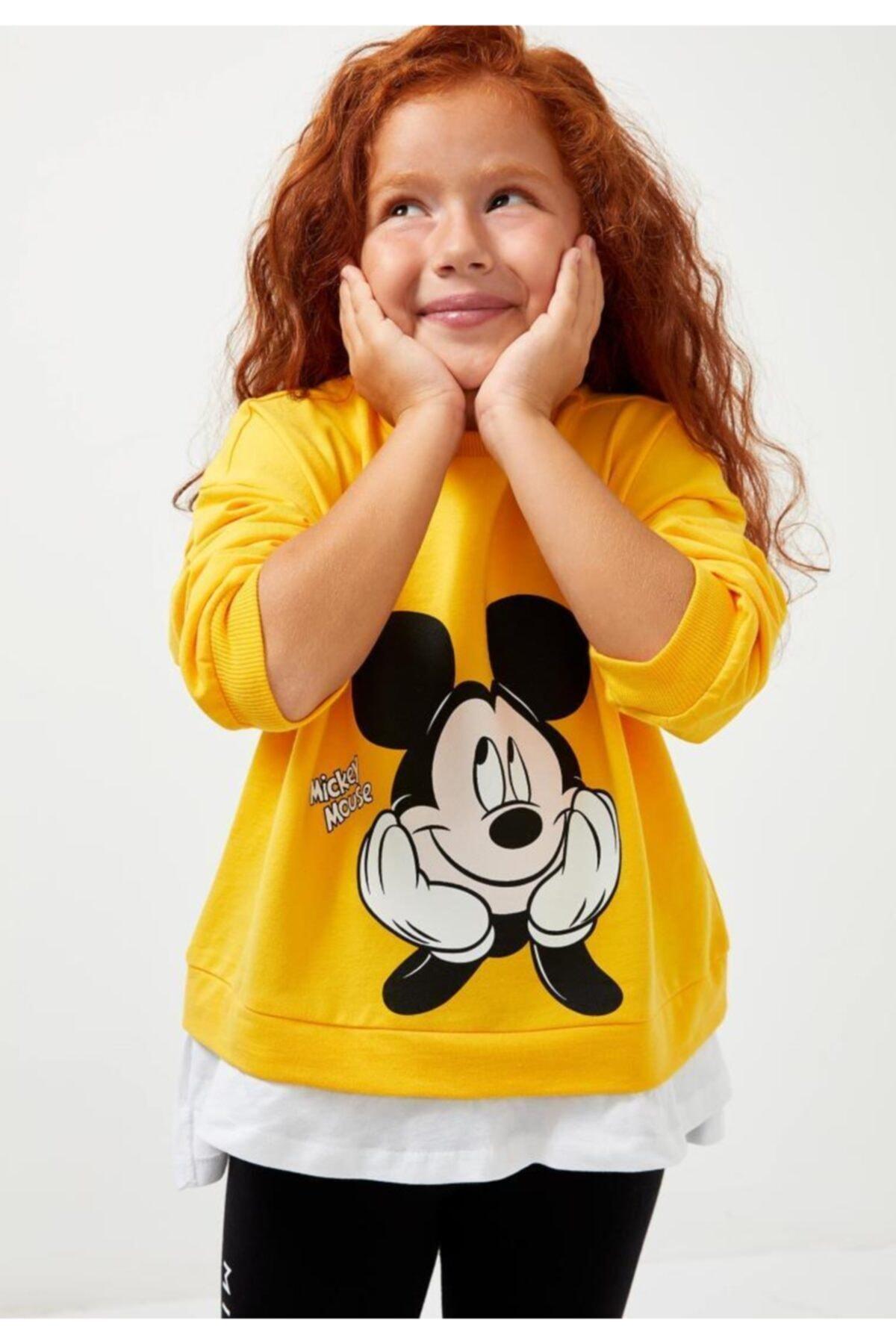 DeFacto Kız Çocuk Sarı Mickey Mouse Sweatshirt 1
