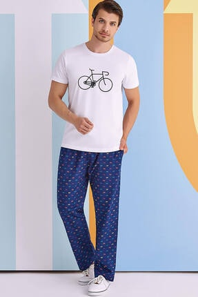 ROLY POLY Bicycle Erkek Pijama Takımı Beyaz