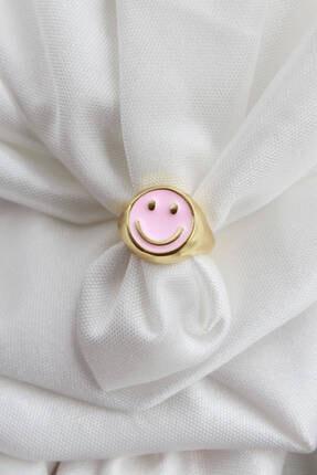 Niki Aksesuar Smile Pembe Mineli Ayarlanabilir Yüzük Gold Renk
