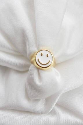 Niki Aksesuar Smile Beyaz Mineli Ayarlanabilir Gold Yüzük
