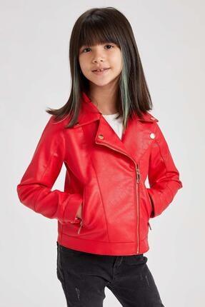 DeFacto Kız Çocuk Kırmızı Suni Deri Ceket