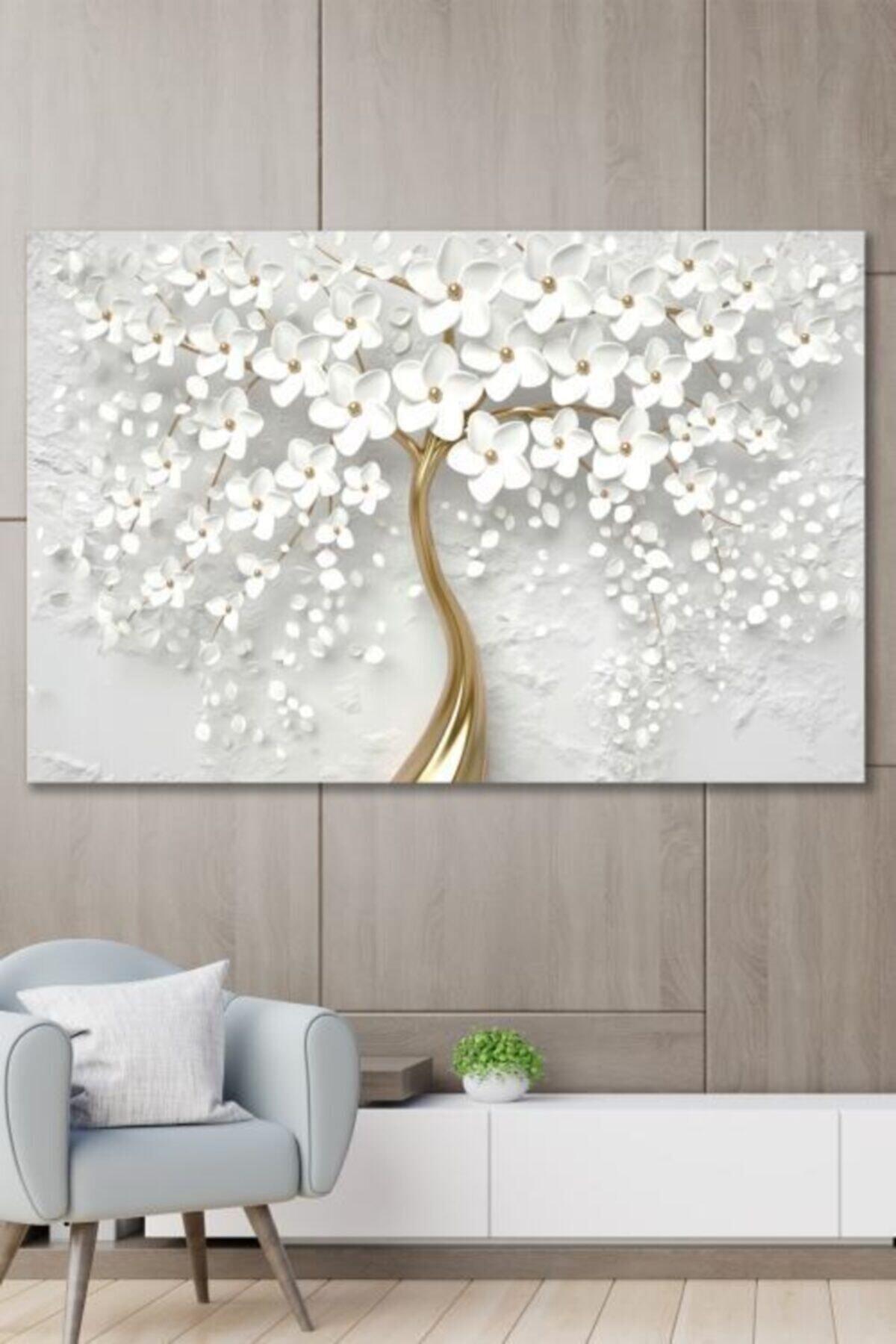 ECELUXE Dekoratif Beyaz Gelincik Duvar Kanvas Tablo 70x100 1