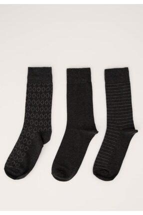 DeFacto Erkek Anthra Melange Desenli Soket Çorap 3'Lü R8054AZ21SP