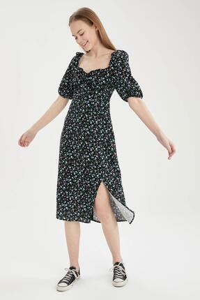 DeFacto Çiçekli Kare Yaka Balon Kollu Yırtmaçlı Elbise
