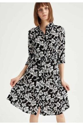 DeFacto Çiçek Desenli Yarım Kollu Kuşaklı Gömlek Elbise