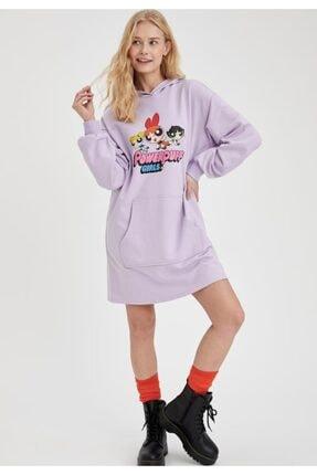 DeFacto Powerpuff Girls Lisanslı Kapüşonlu Oversize Sweat Elbise