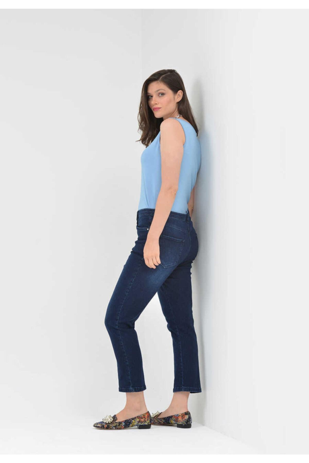 TOLGA SARAÇOĞLU - Pantolon0016 Gizli Lastik Kısa Kot Pantolon 2