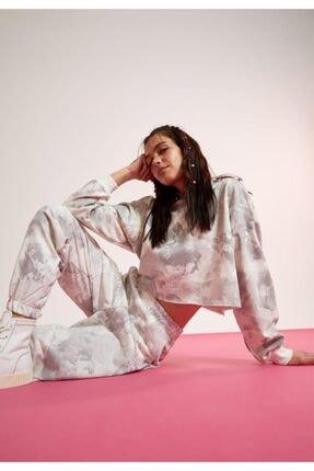 DeFacto Kadın Beyaz Batik Cepli Relax Fit Jogger Eşofman Altı